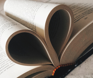 book, heart, and reading image