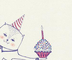 birthday, cake, and meow image