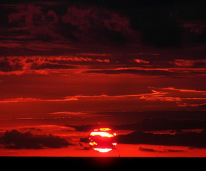 red, sunrise, and sky image