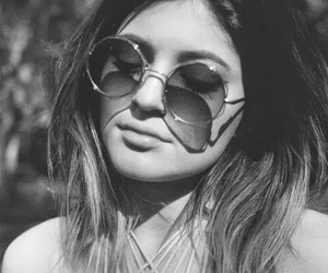 kylie jenner, black and white, and sunglasses image