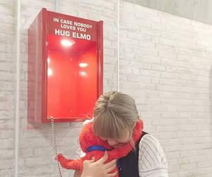hug, elmo, and red image