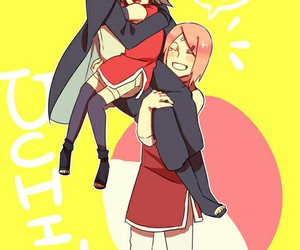 sakura and sasuke, sasusaku, and clan uchiha image