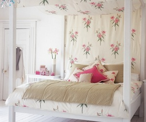 bed, pink, and flowers image
