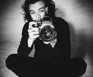 black and white, camera, and i love one direction image