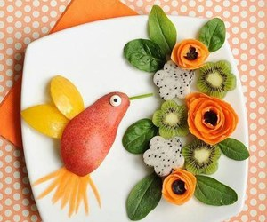 bird, food, and fruit image