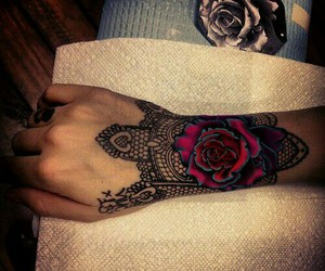 black, flower, and tattoo image