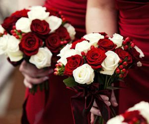 red, flowers, and wedding image