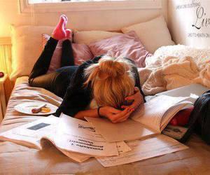school girl, school, and study ; tierd image