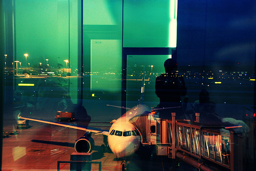 airplane, airport, and night image