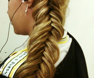 blonde, trenza, and girl image