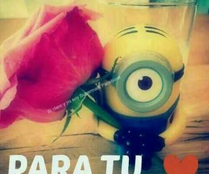 minions, rose, and para tu image