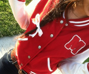 girl, red, and jacket image