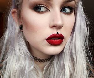 choker, girl, and grey hair image