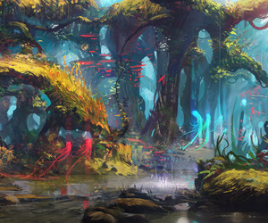 art, digital art, and forest image