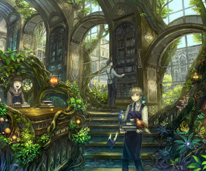 library, anime, and fantasy image