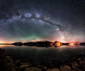 aurora, lake, and landscape image