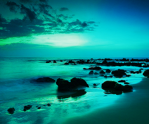 blue, ocean, and rocks image