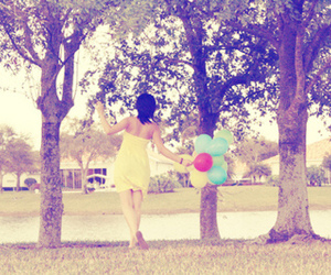 girl, balloons, and trees image