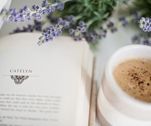 book, coffee, and lavender image