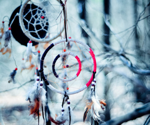 dreamcatcher, snow, and winter image