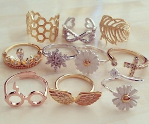 rings, flowers, and gold image