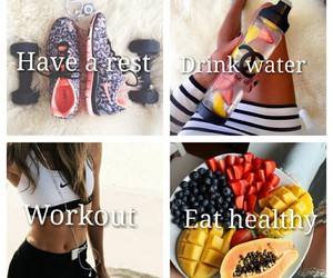 body, exercise, and food image