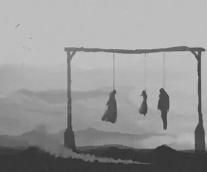 death, black and white, and suicide image