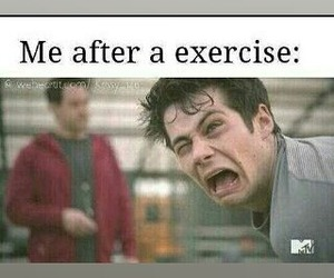 teen wolf, exercise, and funny image