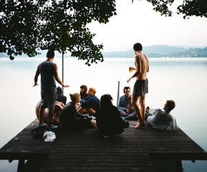 friends, boy, and lake image