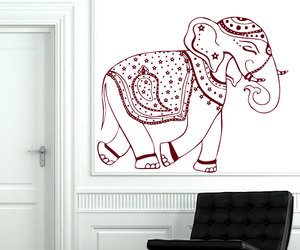 wall decals, indian decor, and decorated ganesha image