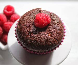 raspberries and chocolate muffin image