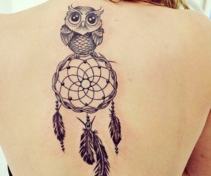 tattoo, owl, and dreamcatcher image