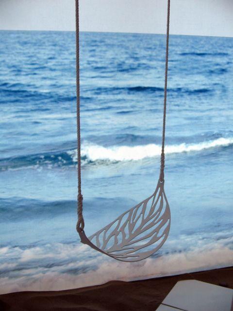 swing, beach, and ocean image