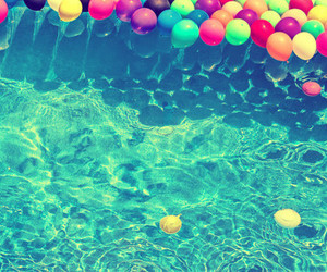 summer, balloons, and water image