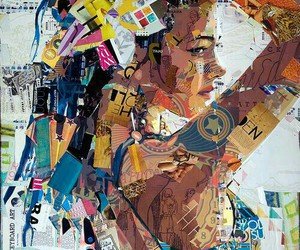 art, Collage, and woman image