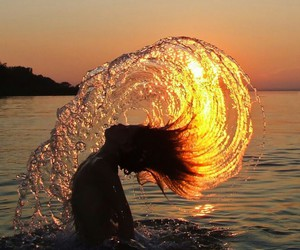 water, sunset, and hair image