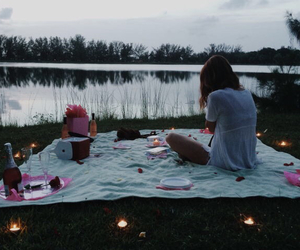 girl, picnic, and lake image