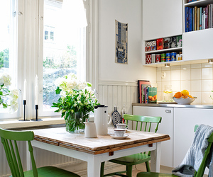 decor, green, and kitchen image