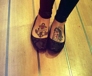 tattoo, feet, and shoes image