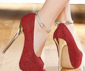 red, shoes, and gold image