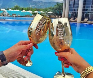 drink, gold, and luxury image