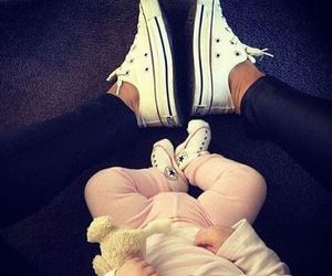 baby, converse, and mom image