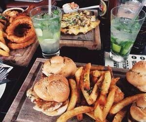 burger, drinks, and food image