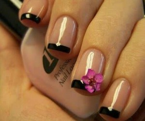 nails, flower, and black image