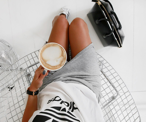 coffee, adidas, and fashion image