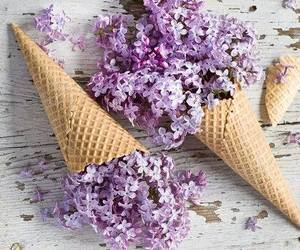 flowers, purple, and ice cream image