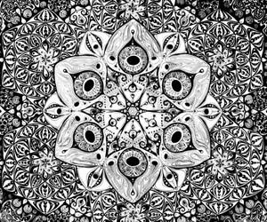 mandala, background, and black and white image
