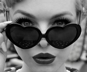 black and white, miss psycho cat, and heart sunglasses image
