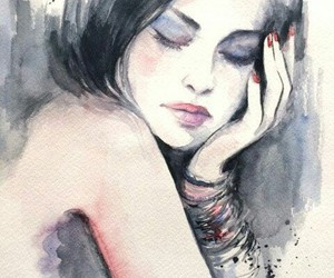 art, girl, and watercolor painting image