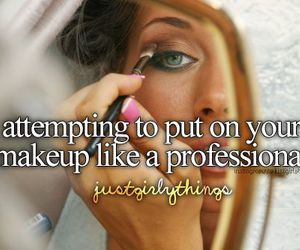 girl, makeup, and just girly things image